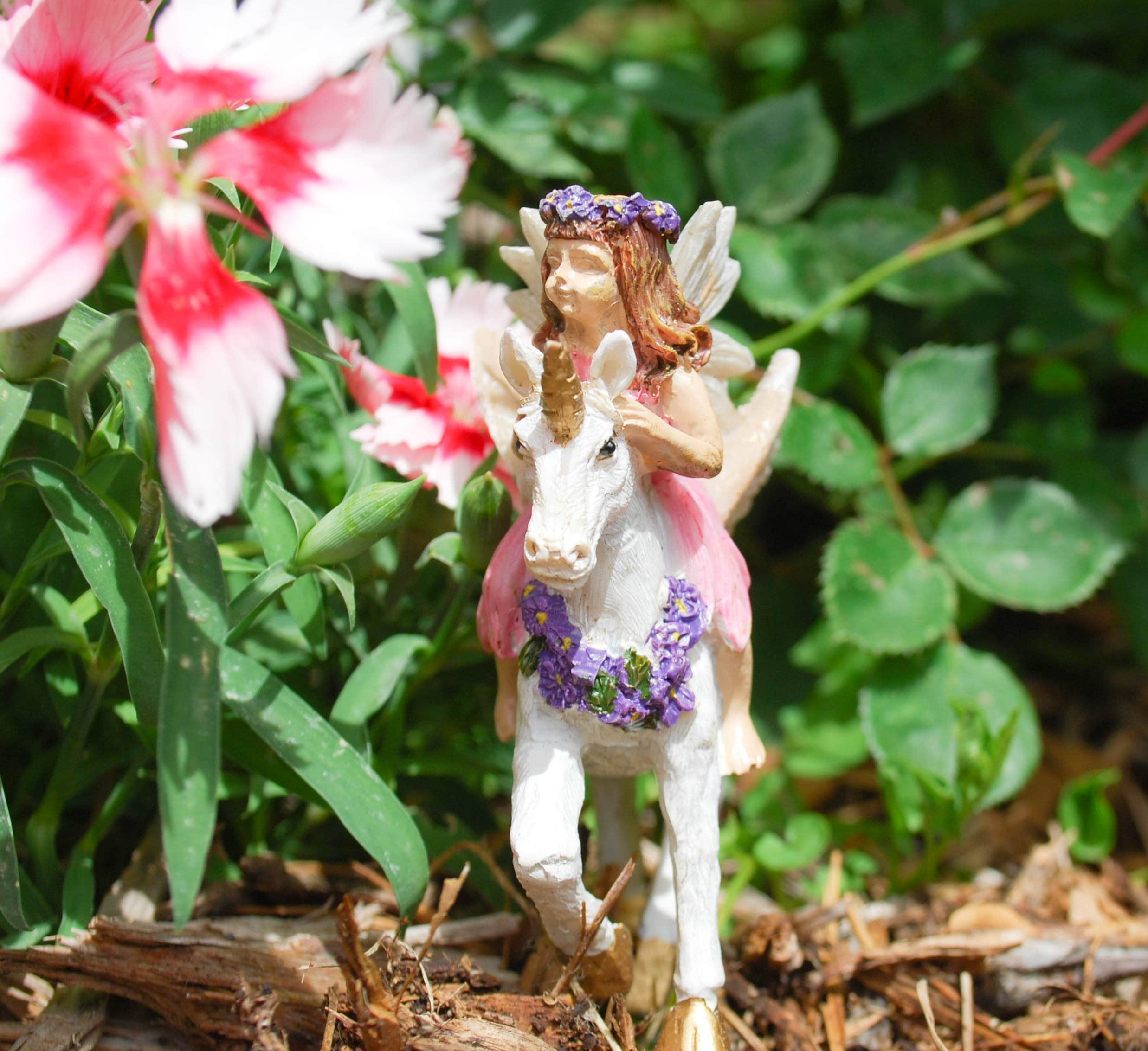 Faerie Statues Fairy With Unicorn For Miniature Garden Faerie Miniatures Fairy Figurine Fairy Decor Fairy Statues Resin Fairies Garden Fairy