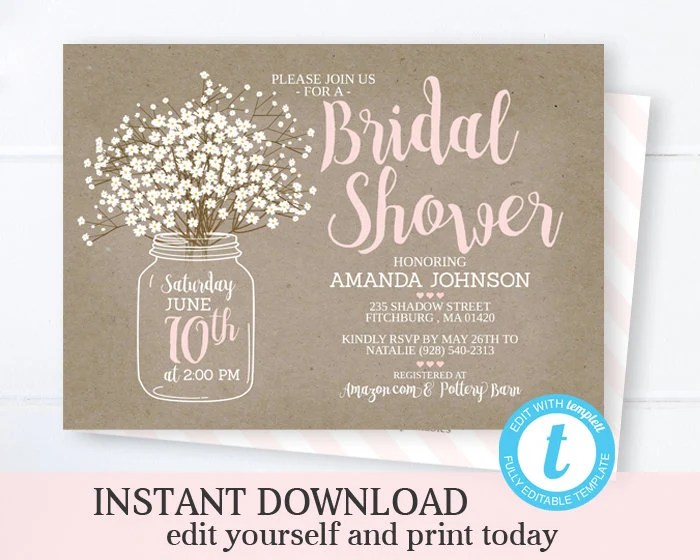 Mason Jar Bridal Shower Invitation Template INSTANT DOWNLOAD