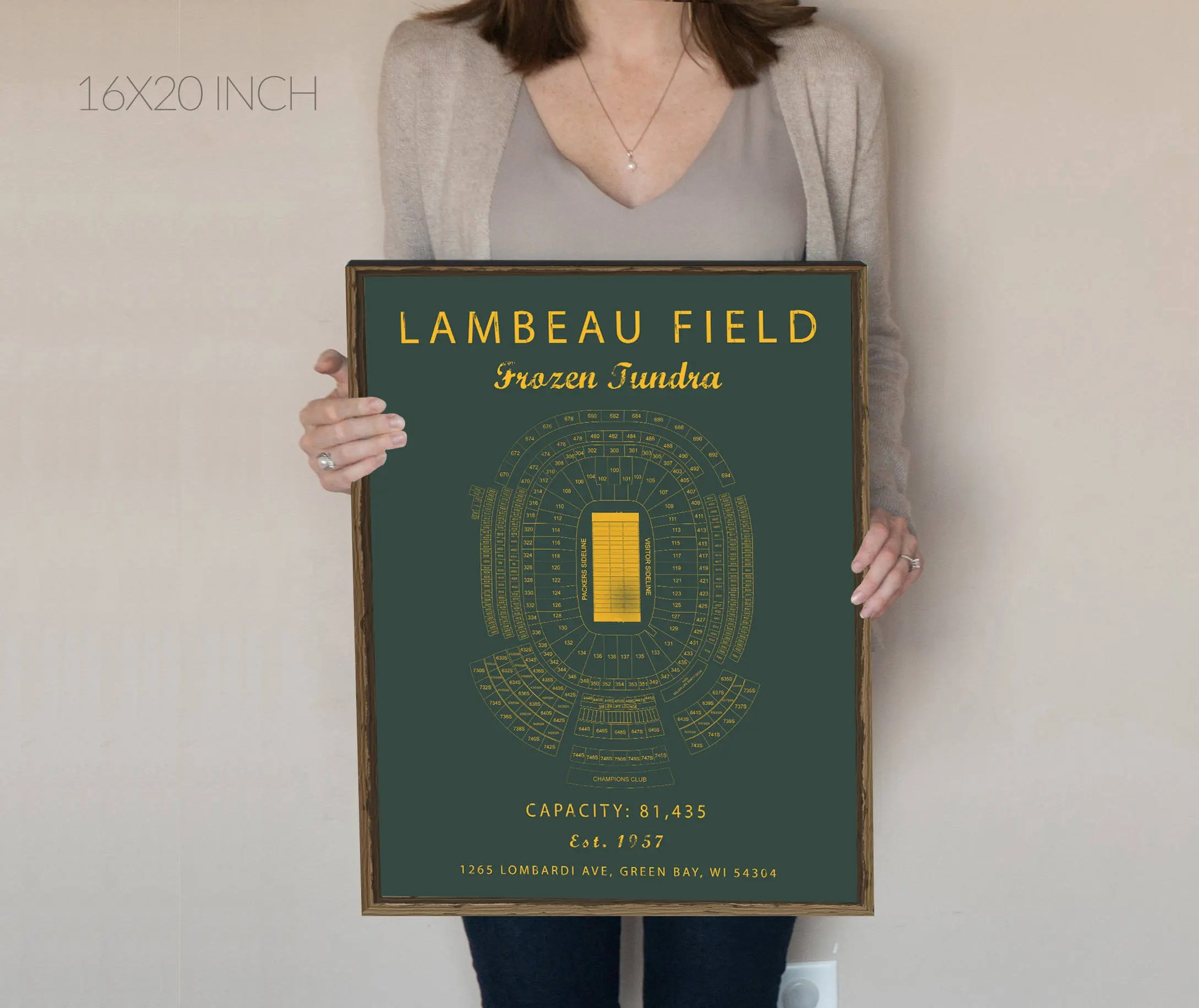 Lambeau Field Seating Chart Green Bay Packers Lambeau Field Etsy