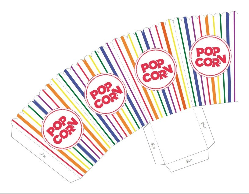 Rainbow Stripe Popcorn Box Printable PDF Great for Baby Etsy