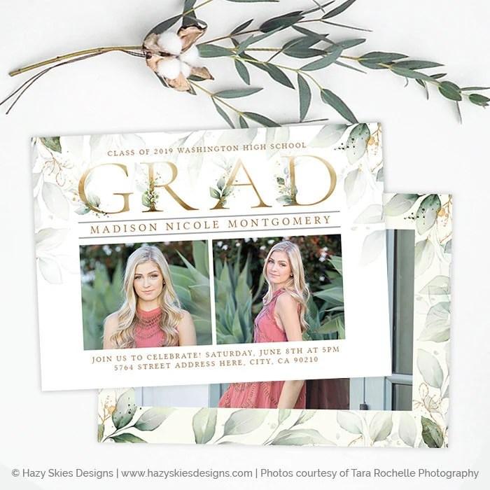 Graduation Announcement Template Girl Graduation Invitation Etsy