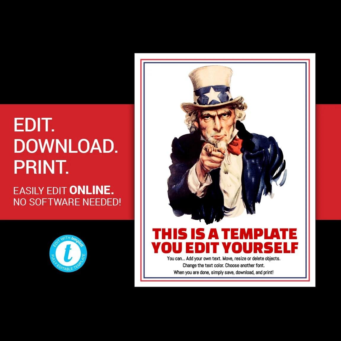 EDITABLE Uncle Sam poster uncle sam flyer Uncle Sam I Want You Etsy