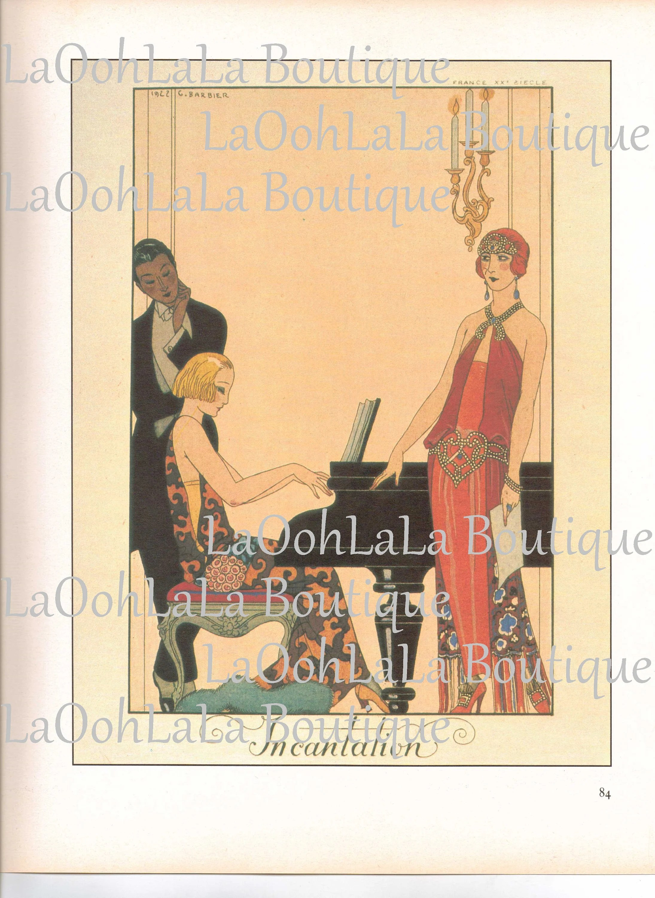 Boutique Art Et Decoration 1923 Gatsby Incantation Falbalas Et Fanfreluches George Barbier Art Deco Pianist Piano Music 20s Flapper Fashion Wall Decor Lithograph Print