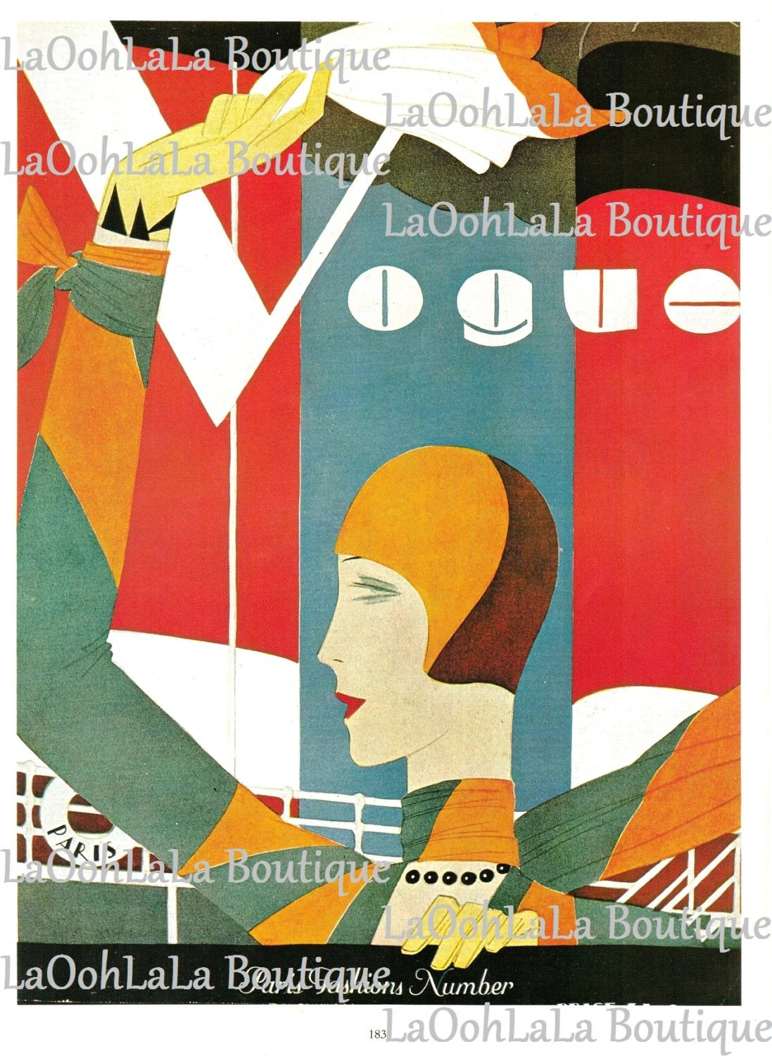 Boutique Deco Paris 1927 Bonjour Paris Vogue Cover Vintage 1980 Druck Französische Mode Eduardo Benito Art Deco Fähre Boot Flapper Cloche Hut Millinery Wand Dekor
