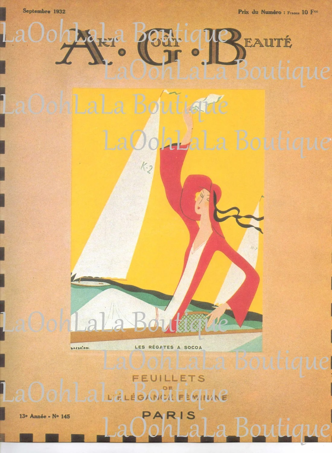 Boutique Deco Paris 1932 Paris Deco Art Goût Beauté September French Fashion Magazine Cover Feuillets De L élégance Féminine Les Régates A Socoa Sailboat Decor