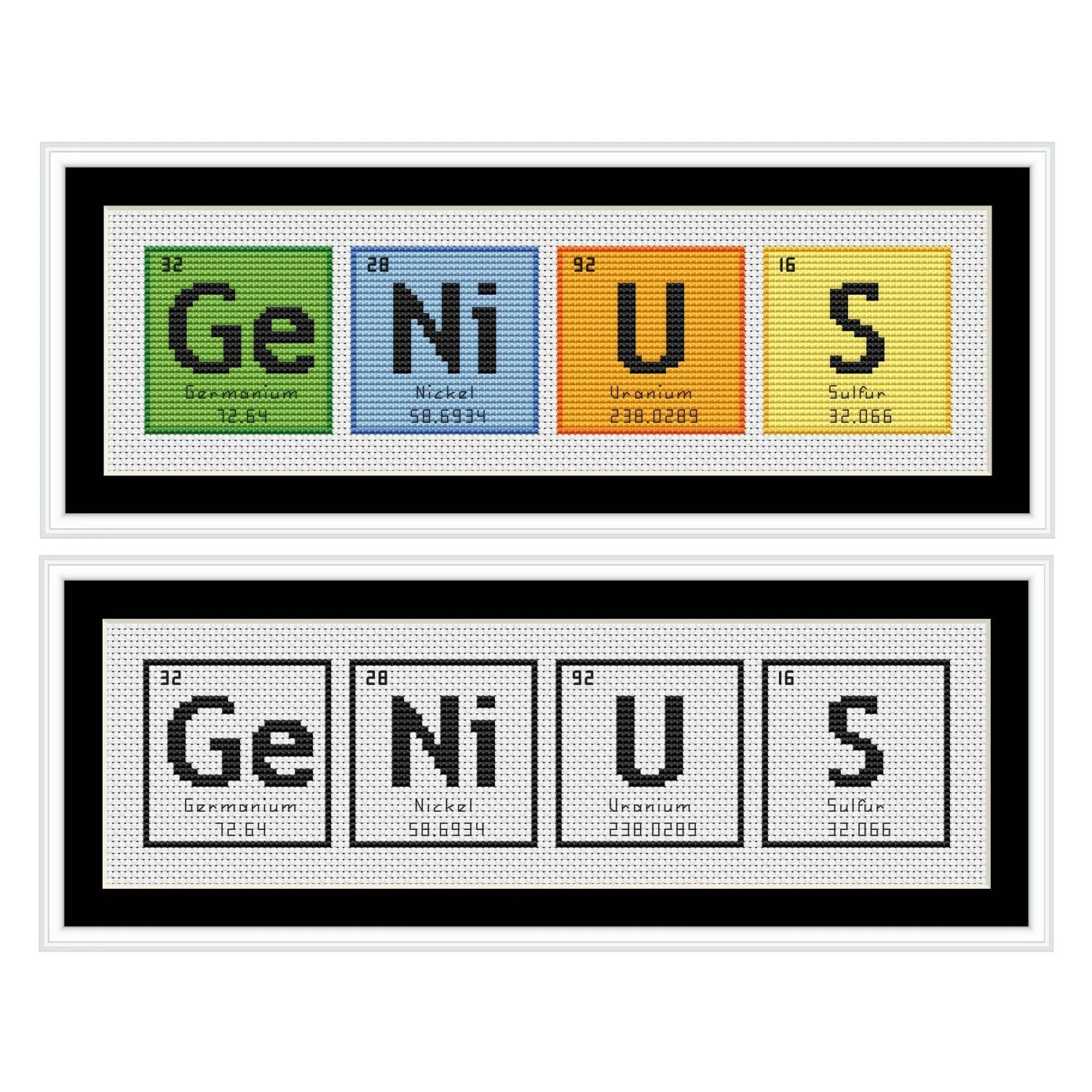 GENIUS Periodic Table Chemical Element Cross Stitch Chart Etsy