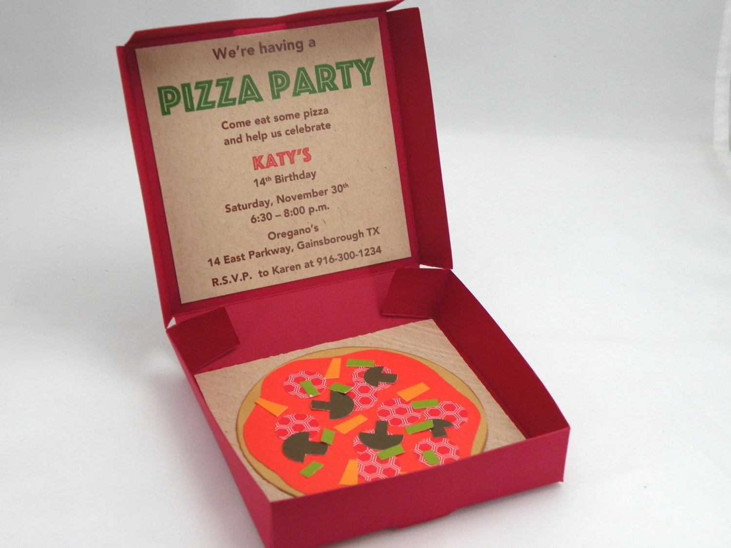 10 3D Pizza Box Pizza Party Invitations with Custom Wording Etsy