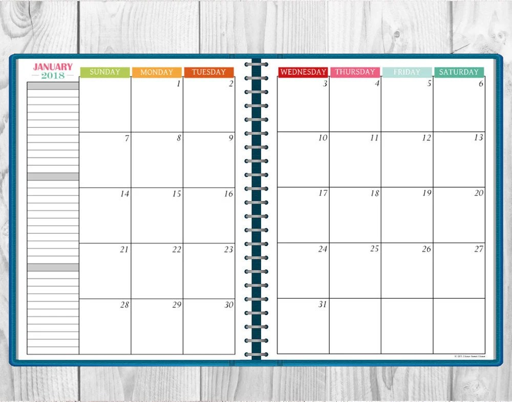 Printable Multi-Color 2018 Monthly Calendar Two-Page Spread Etsy