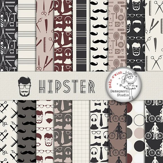 Hipster digital papers Mustache Scrapbook Paper Hipster Etsy