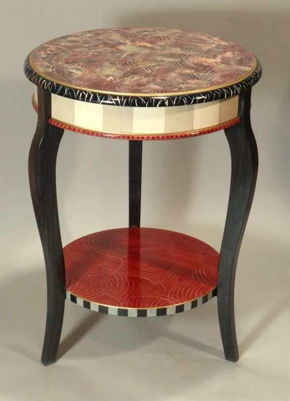 Cabriole Accent Table Hand Painted Side Table Red Grey Etsy