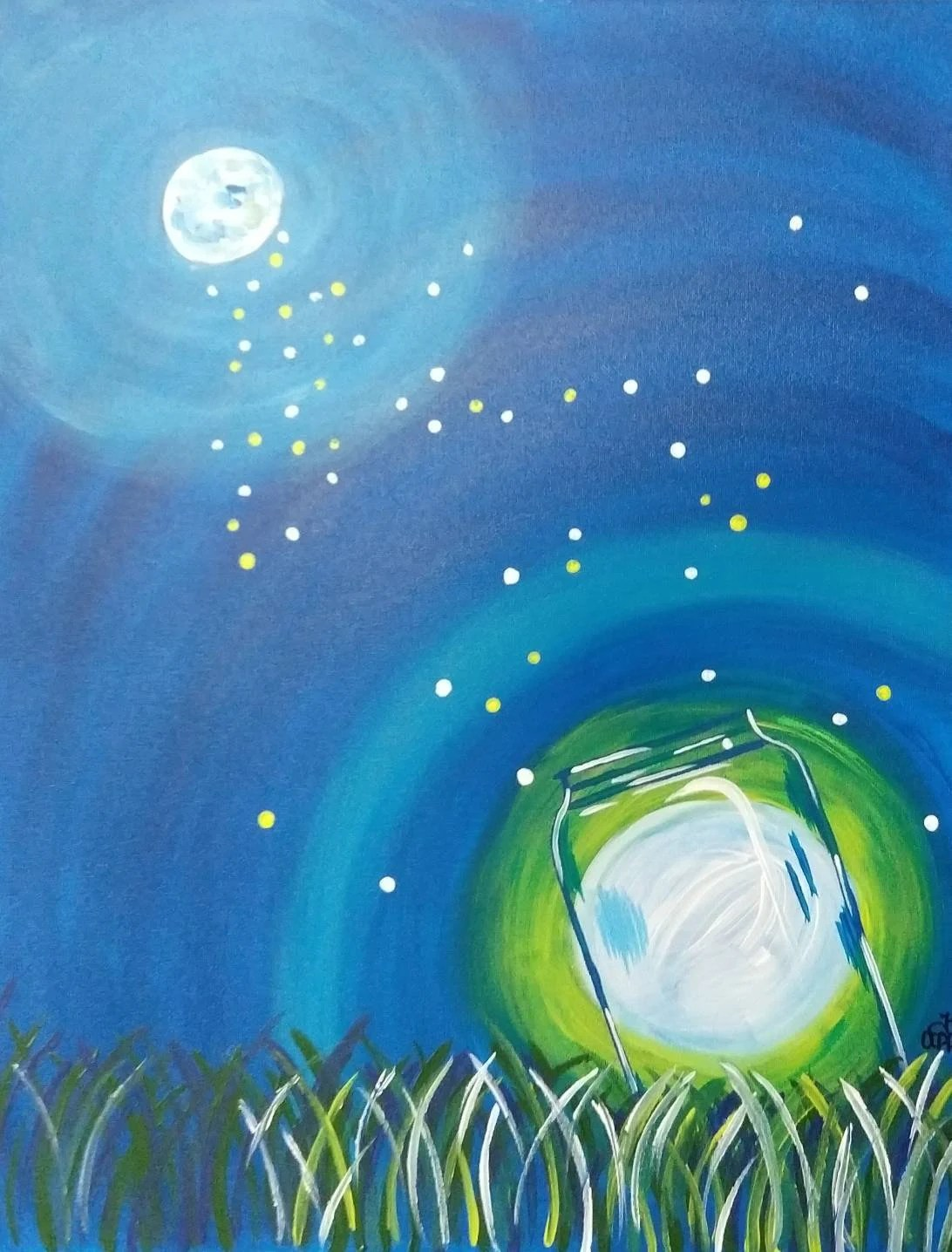 Firefly Jar Art Firefly Jar Painting 16x20 Inch Painting Summer Wall Decor Fireflies Art Mason Jar Art Original Painting