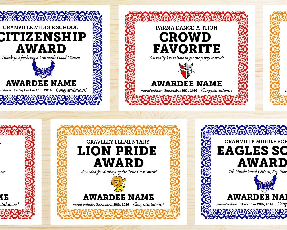 YOUR MASCOT Editable School Award Certificates Printable PDF Etsy