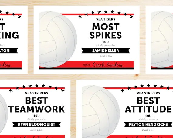 Editable Volleyball Award Certificates INSTANT DOWNLOAD Etsy