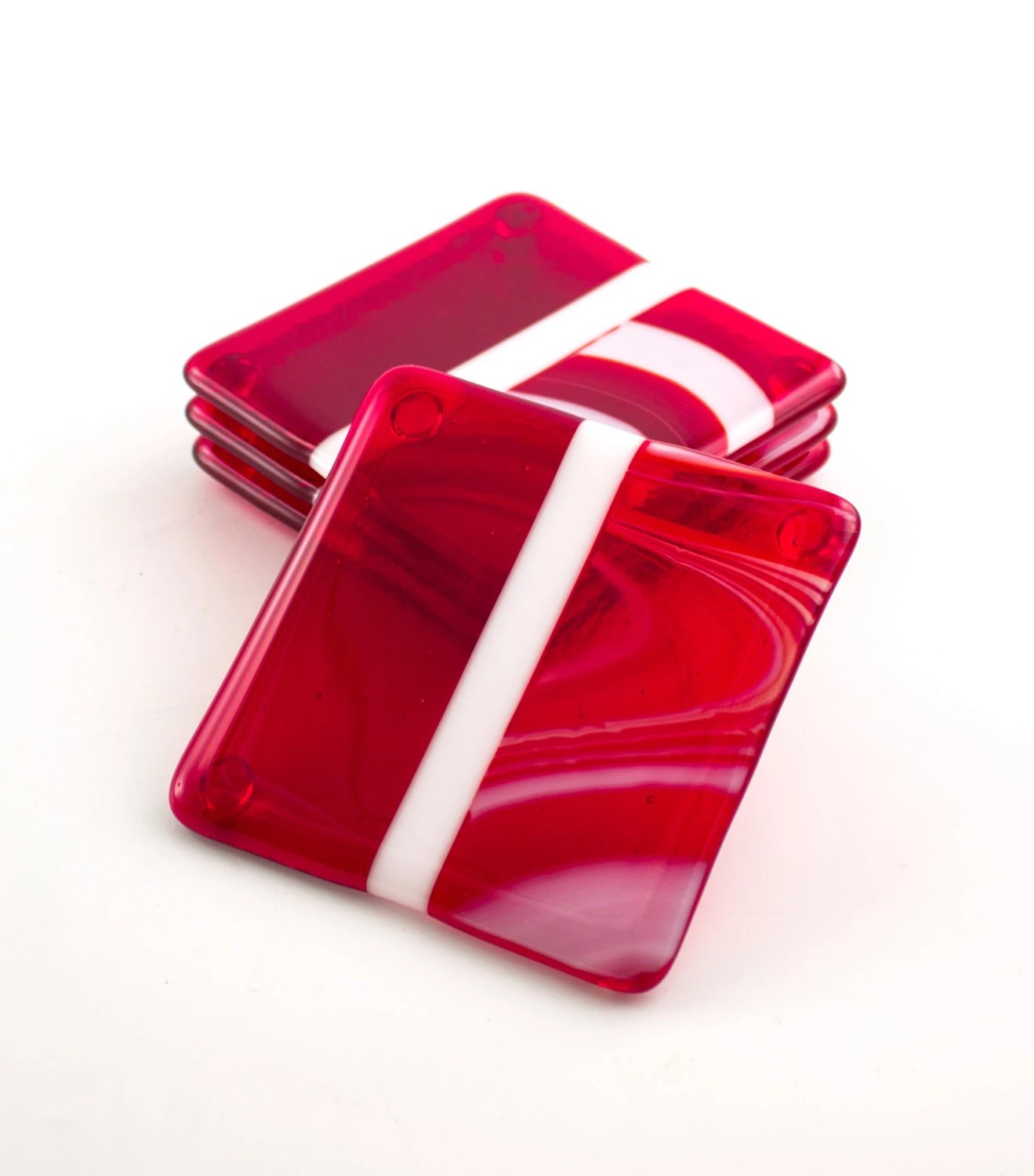 Cool Bar Coasters Red Coasters Fused Glass Unique Coasters Home Bar Red Home
