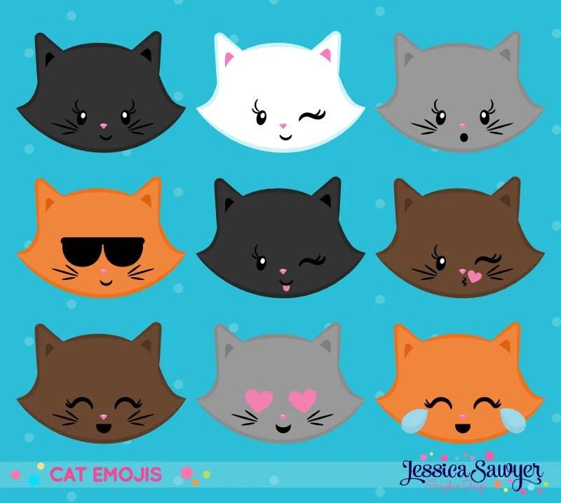 INSTANT DOWNLOAD Cat Emoji Clipart and Vectors Etsy