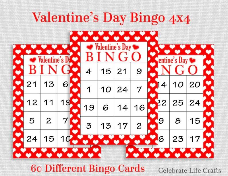 Valentine Bingo Game - 60 Printable Valentine\u0027s Bingo Cards - FREE  Valentine Favor Bag Toppers - Numbers 1-25 - Valentine Activity