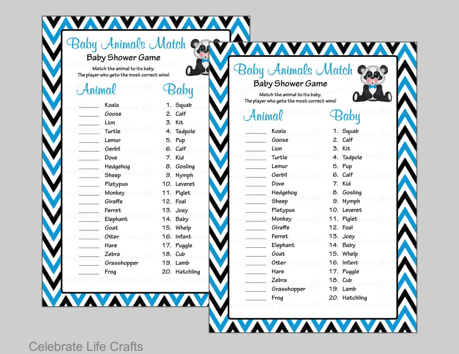 Baby Animals Match Game - Printable Baby Shower Game - Baby Boy Baby