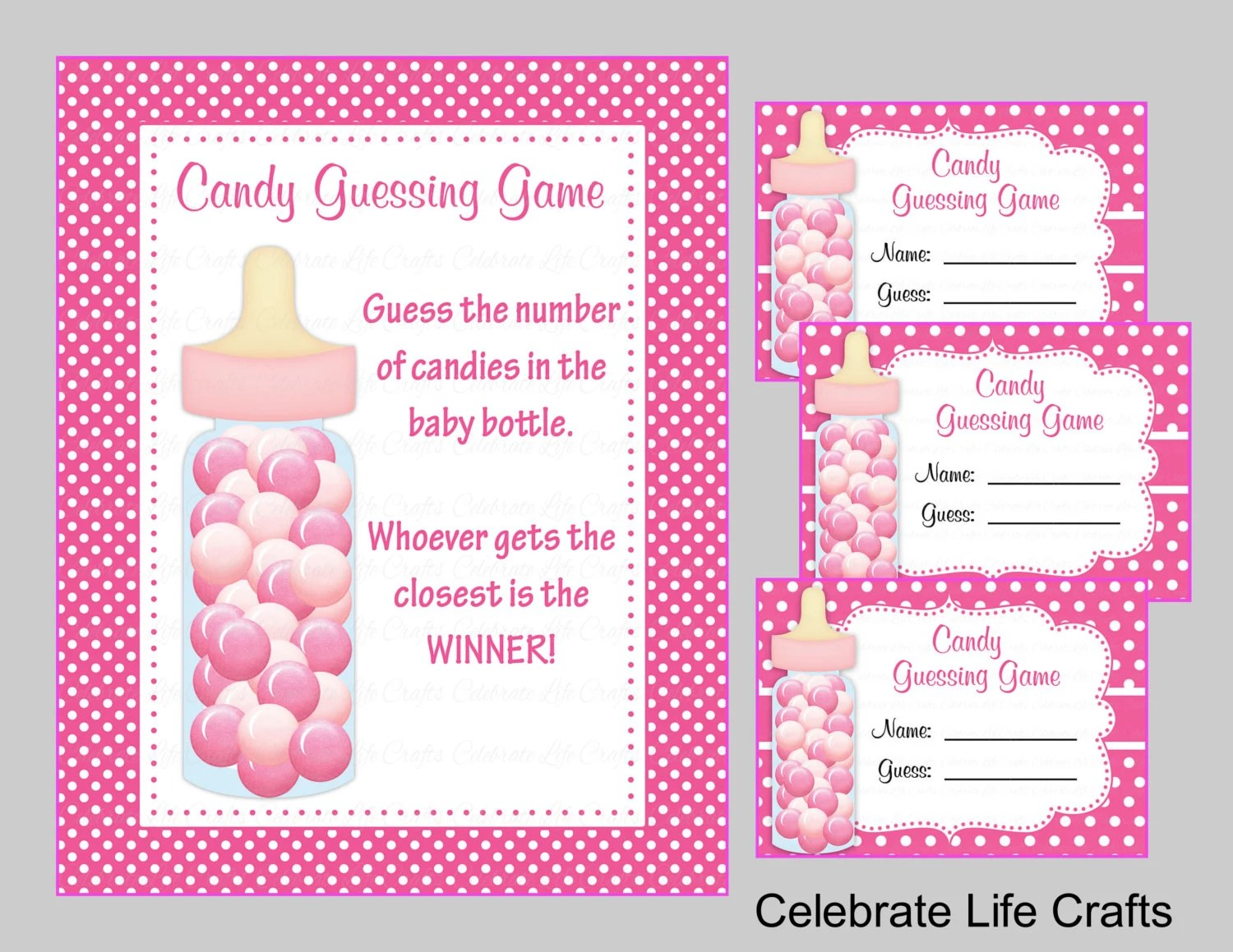Baby Shower Printable Game Candy Jar or Bottle Guessing Game Etsy