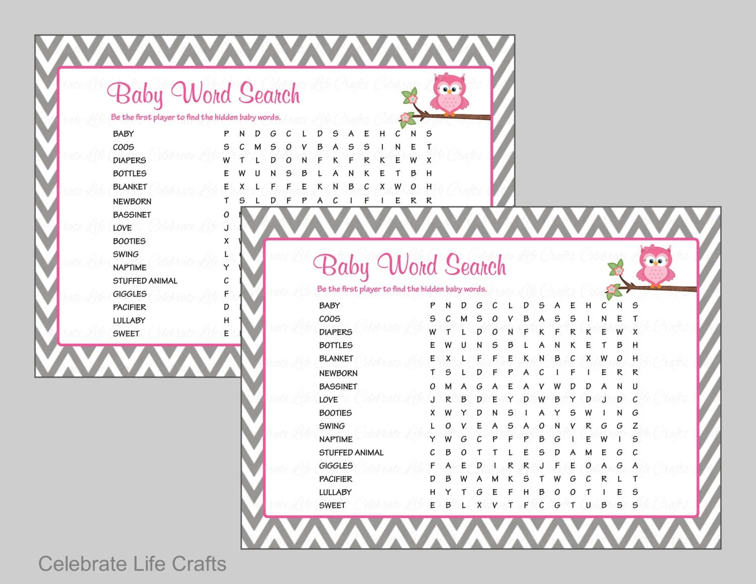 Baby Word Search Baby Shower Game with Answer Key Printable Etsy