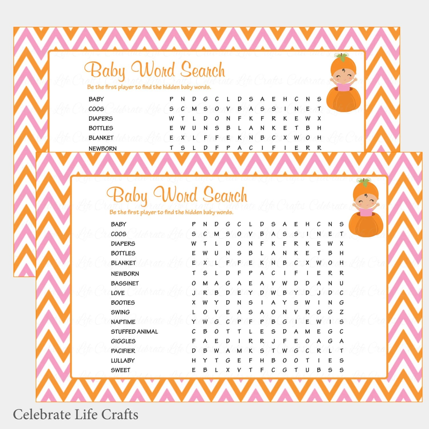 Baby Word Search Baby Shower Game with Answer Key - Printable Baby
