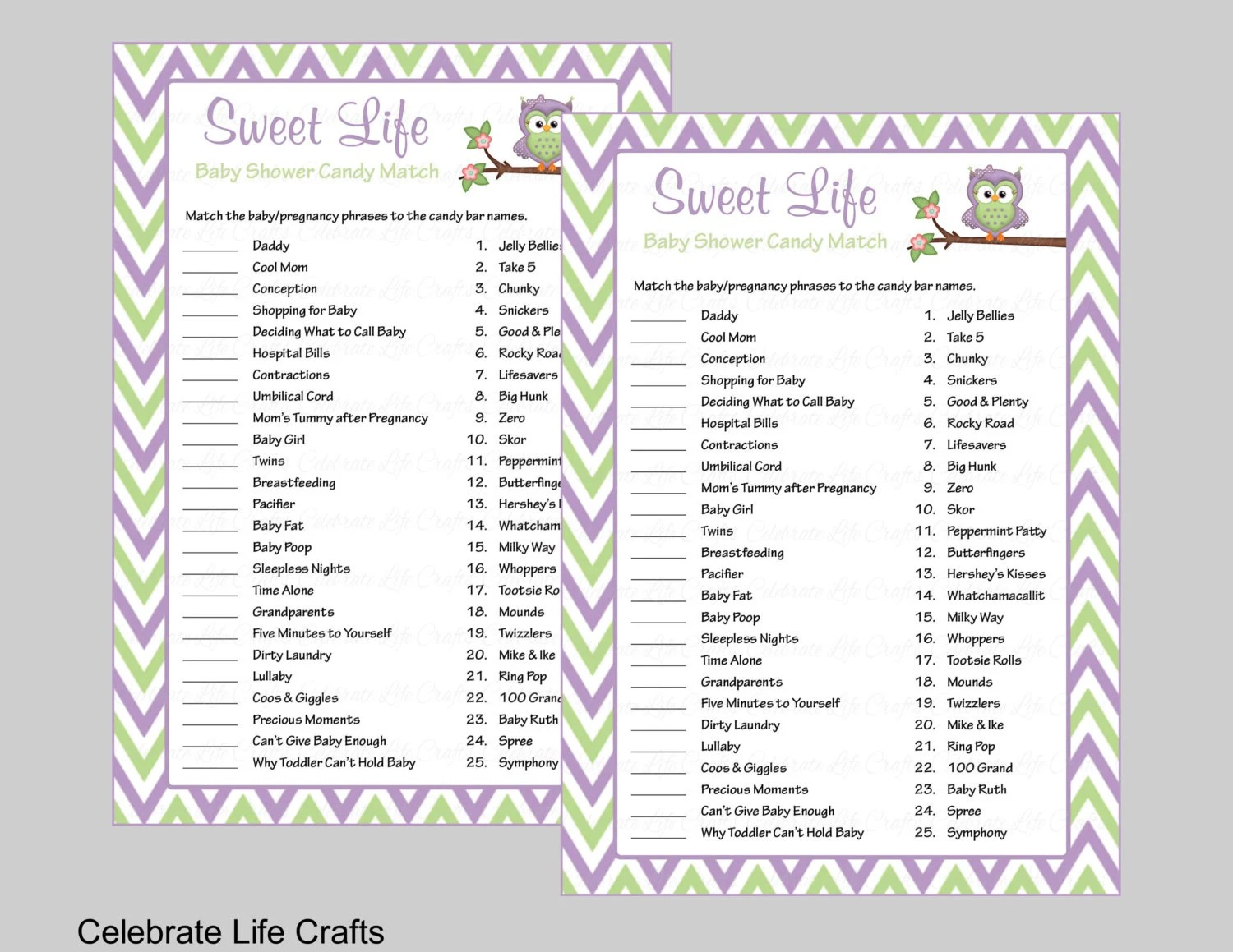 Baby Shower Sweet Life Candy Bar Match Game with Answer Key