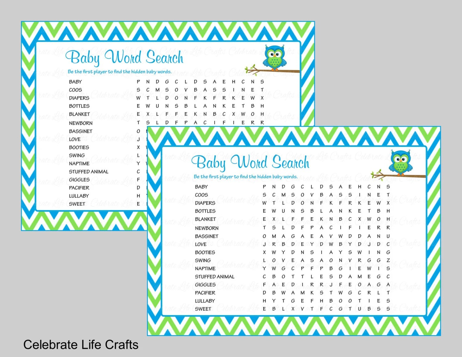 Baby Word Search Baby Shower Game  Answer Key Printable Etsy