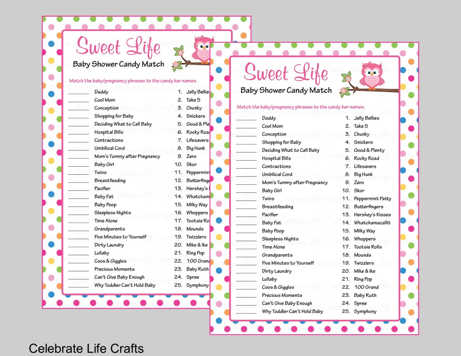 Baby Shower Sweet Life Candy Bar Match Game Printable Baby Etsy