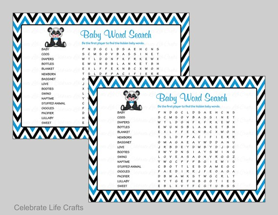 Baby Word Search Baby Shower Game Printable Baby Games Etsy