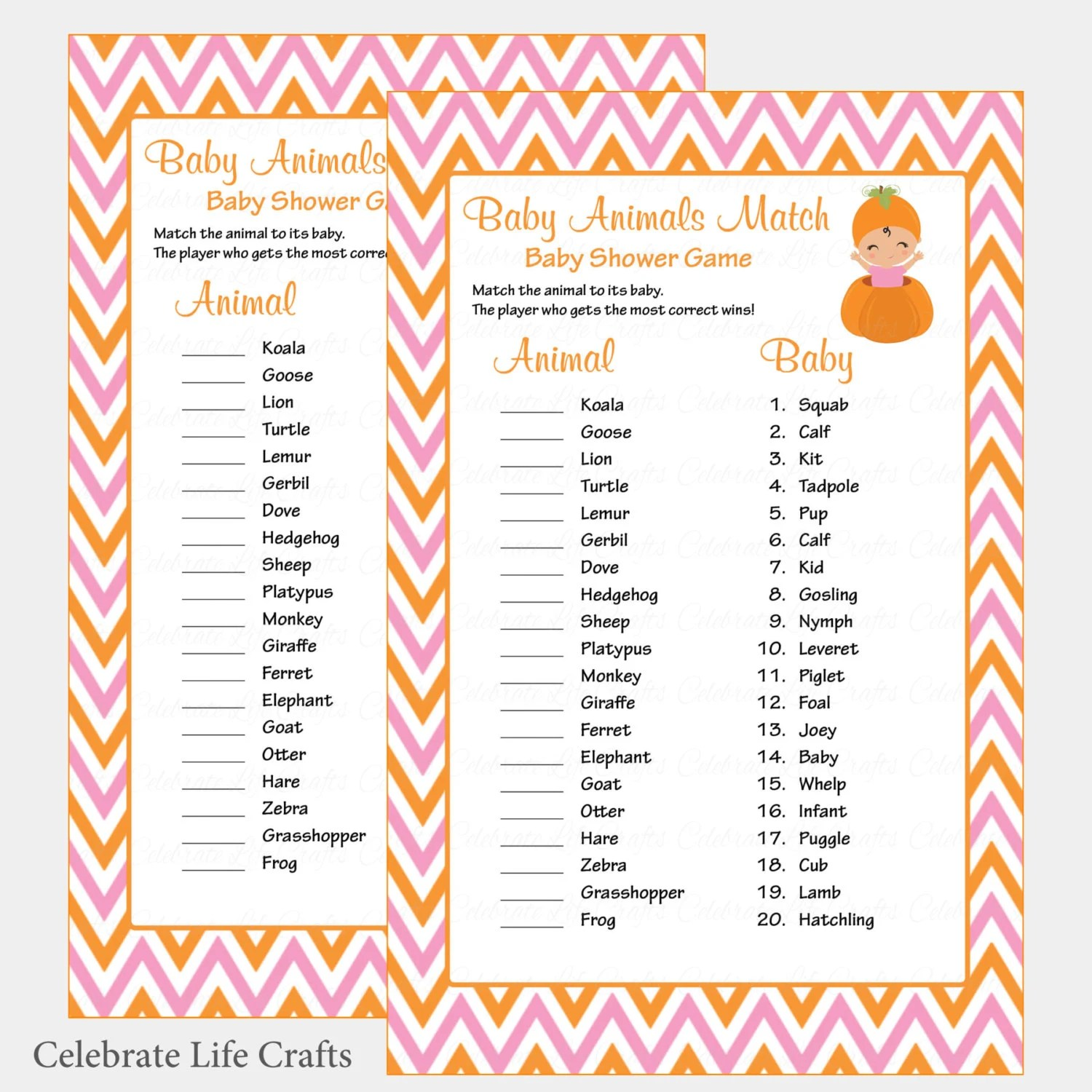 Baby Animals Match Game with Answer Key - Printable Baby Shower Game
