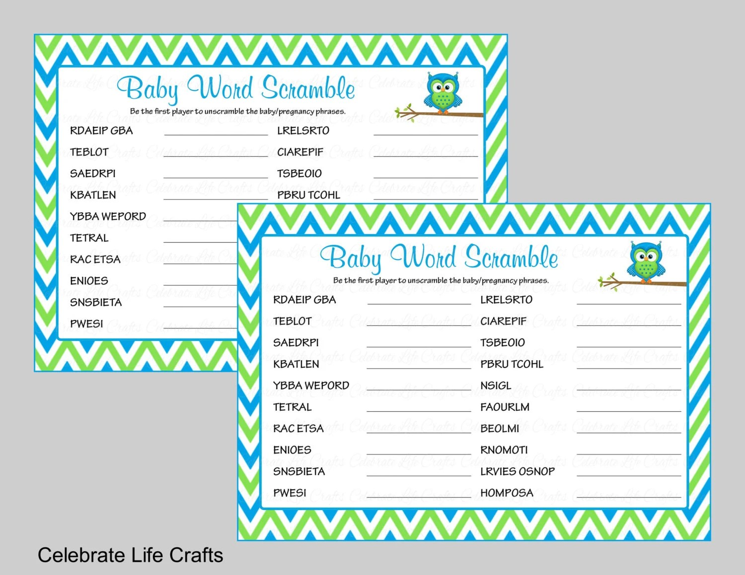 Baby Shower Word Scramble Game  Answer Key - Printable Baby Shower