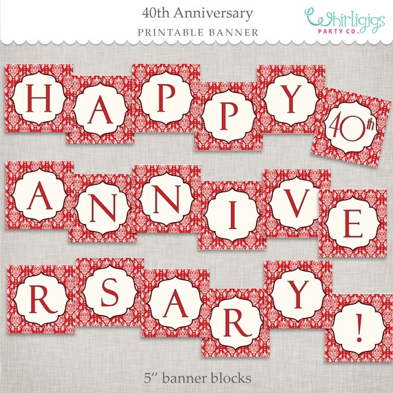 Instant Download 40th Anniversary Banner - printable PDF by
