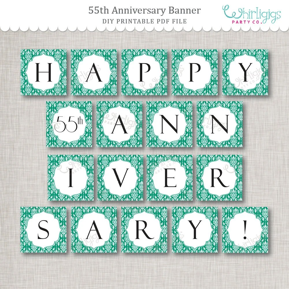 Instant Download 55th Anniversary Banner - printable PDF by
