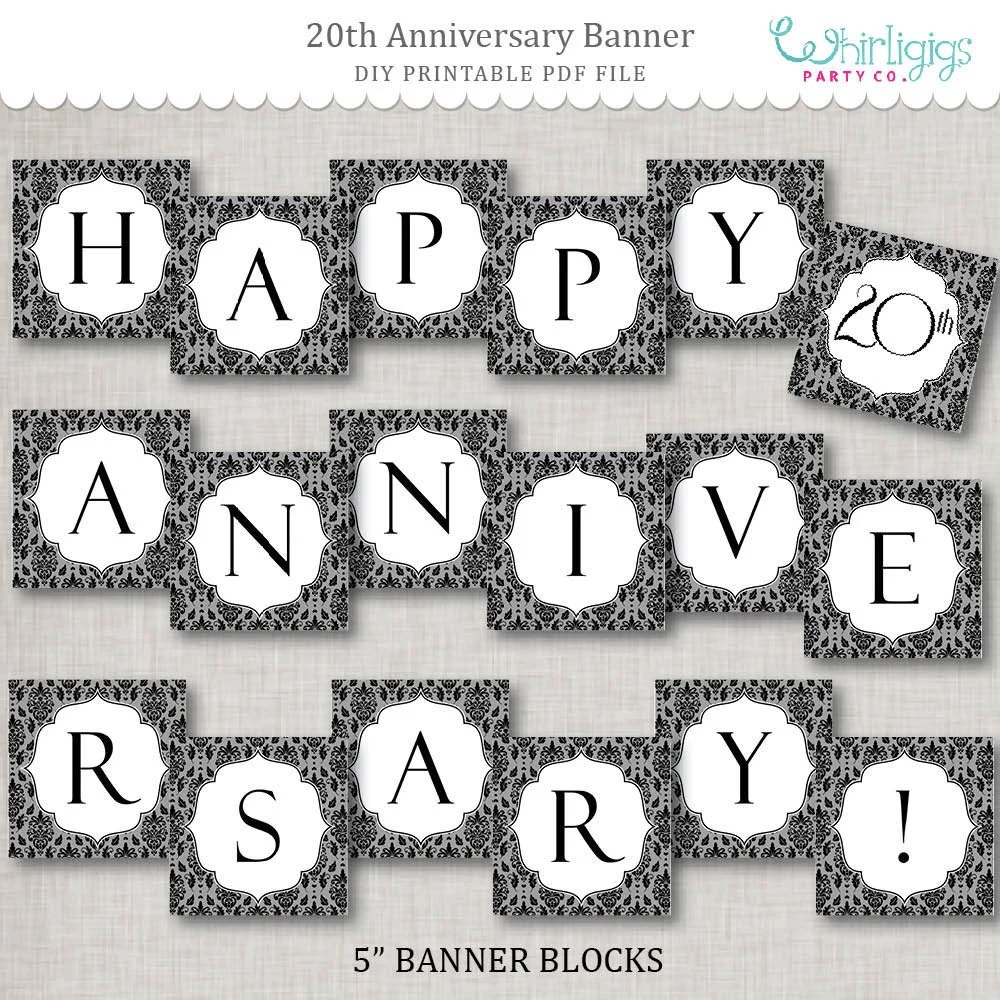 Instant Download 20th Anniversary Banner - printable PDF by