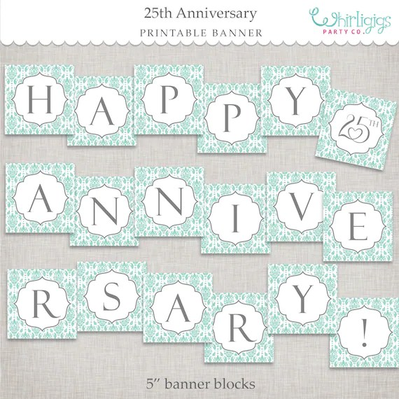 Instant Download 25th Anniversary Banner - printable PDF by