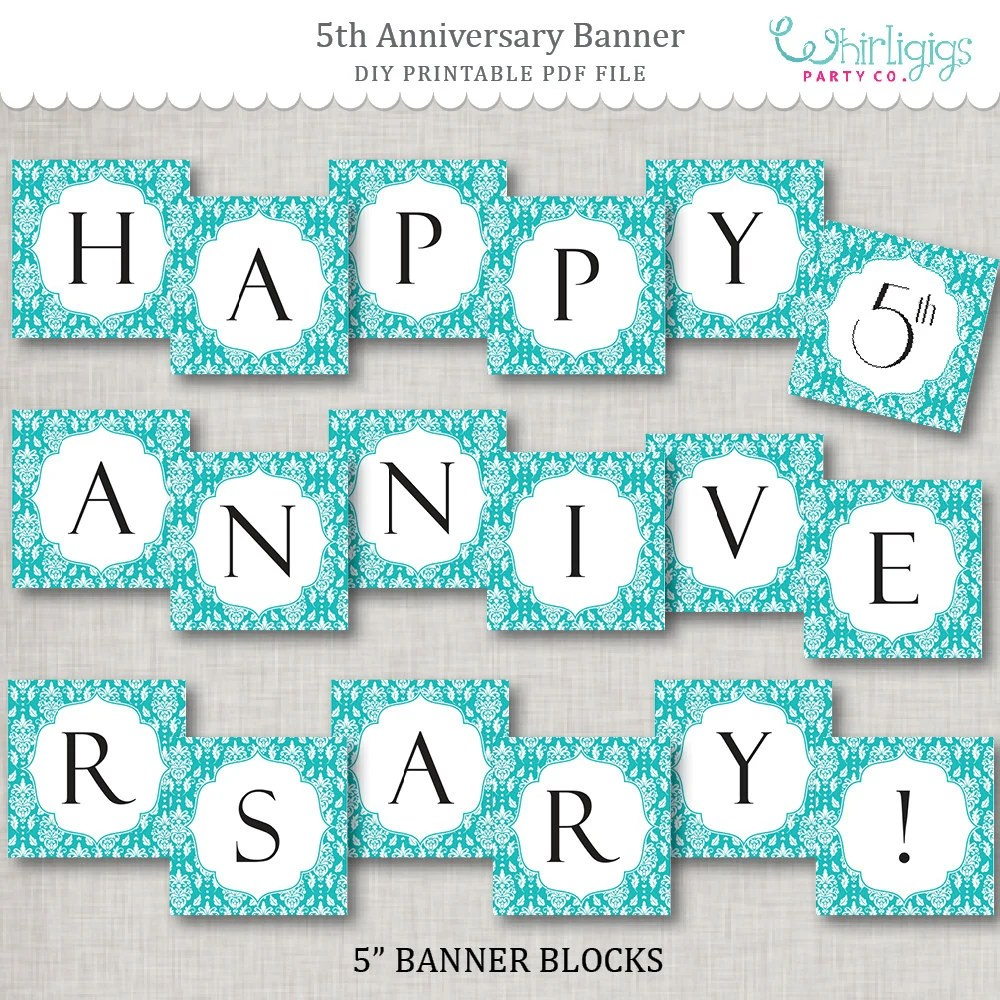 5th Anniversary Instant Download Banner - Turquoise Anniversary