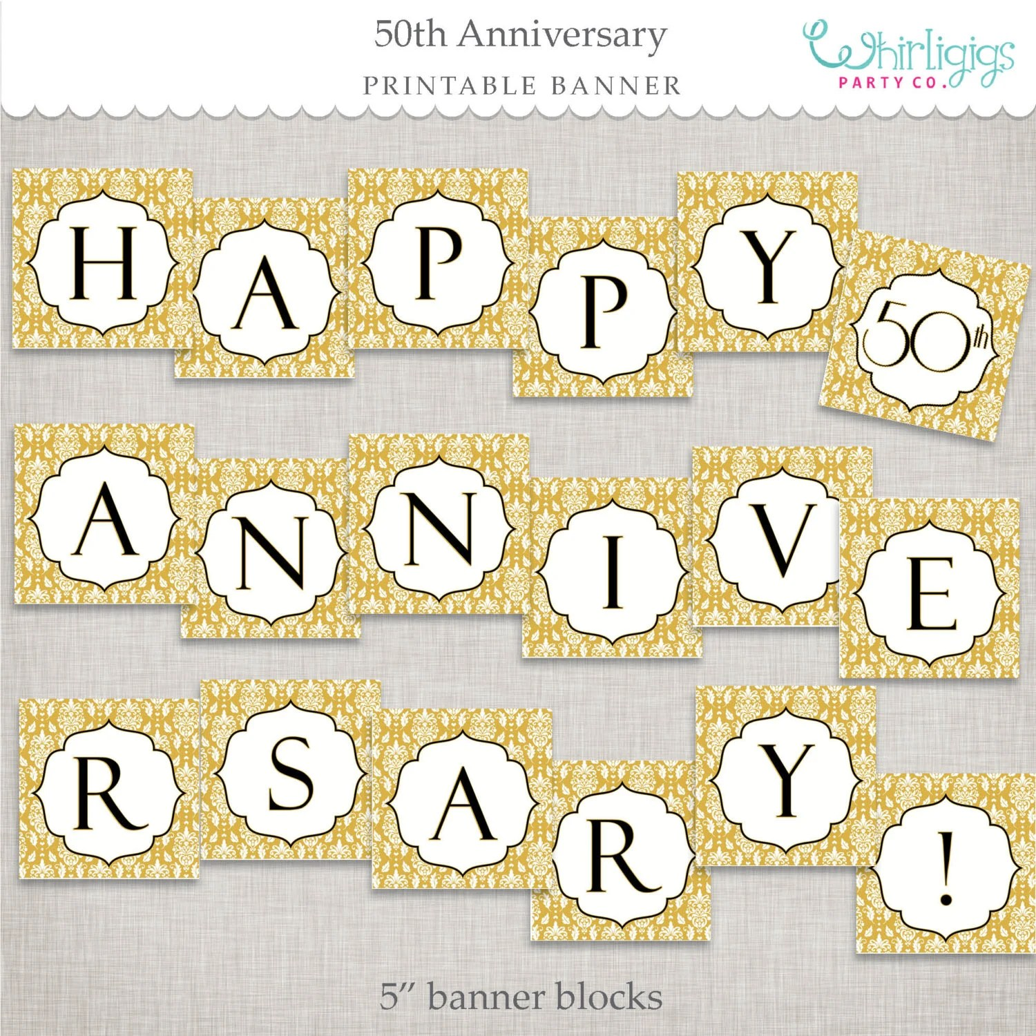 Instant Download 50th Anniversary Banner Golden Anniversary Etsy