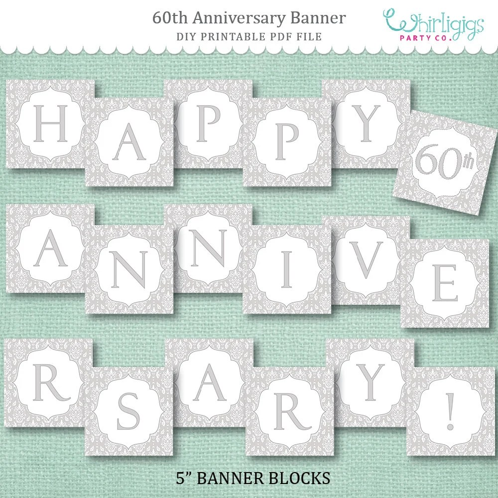 Instant Download 60th Anniversary Banner - Diamond Anniversary or