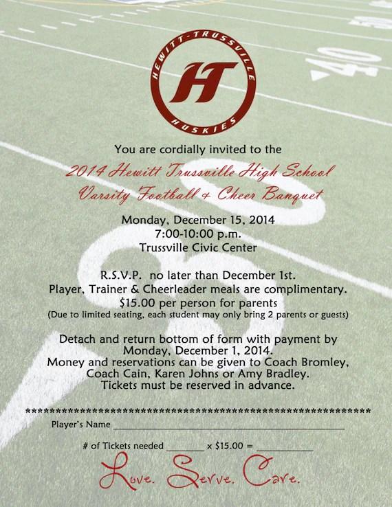 Football banquet Invitation Digital File Printable DIY Etsy