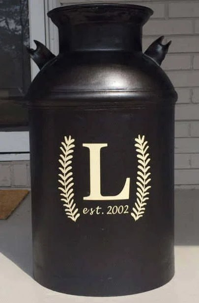 Decorative Milk Urn Milk Can Decal Monogram Decal Farmhouse Decor Decal For Milk Can Monogram Initial Monogram Decal Front Door Decal