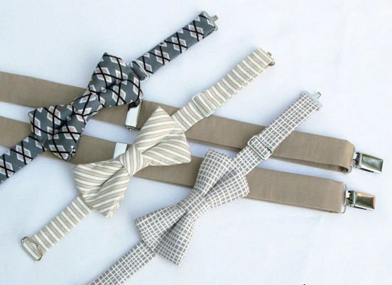 Boys Tan Bow Tie And Suspender Set Boys Bow Tie And Etsy