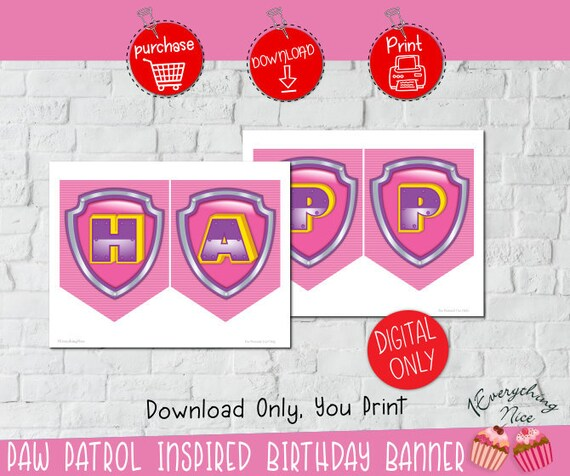 INSTANT DIGITAL DOWNLOAD Paw Patrol Inspired Pink Theme Happy
