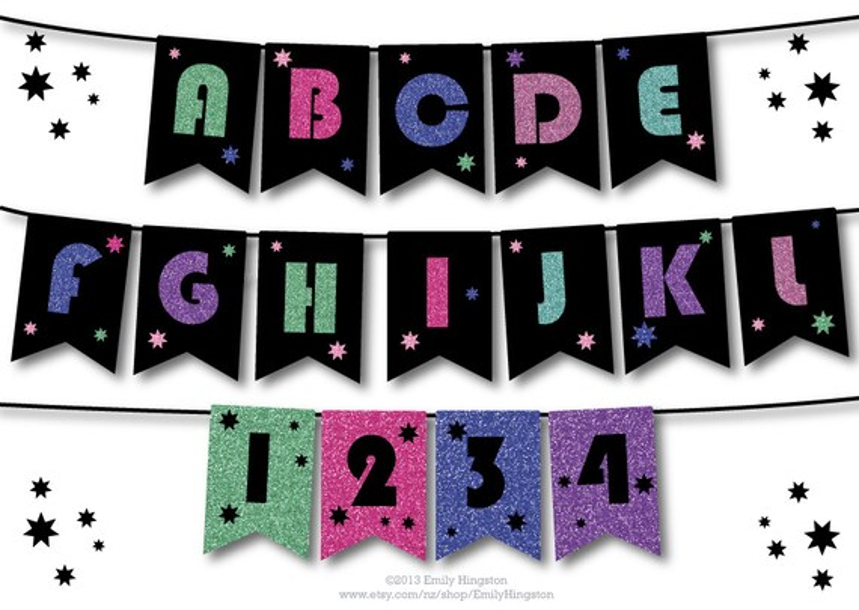 Alphabet Template, Personalized Banner, DIY Birthday Banner, 21st