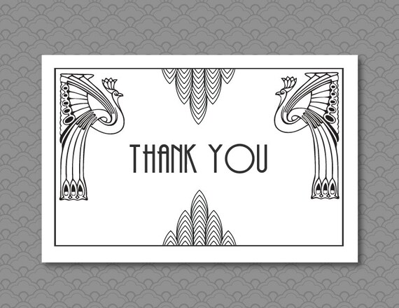 Thank You Card, Great Gatsby Wedding Art Deco Black and White