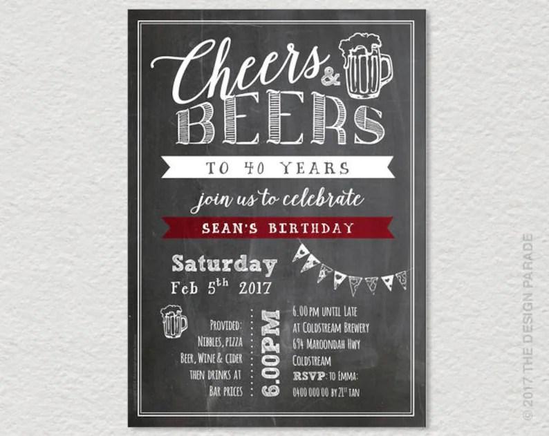 TEMPLATE Chalkboard Invitation Cheers  Beers 21st Etsy