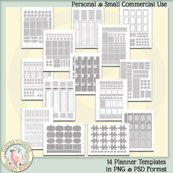 14 Planner Templates Set 2 in PNG and PSD Format Personal and Etsy