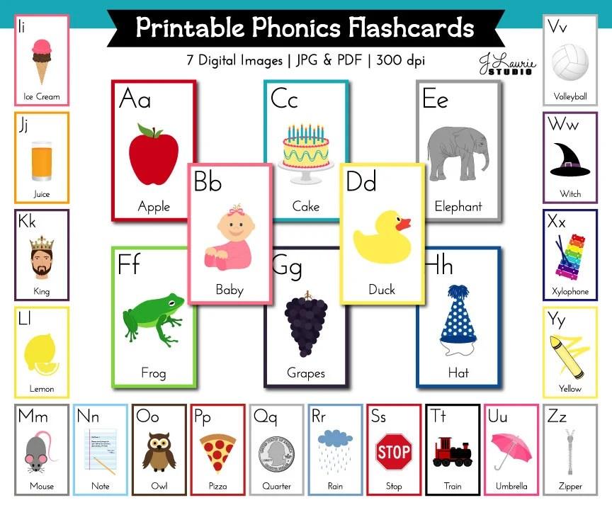 Alphabet Flashcards-Alphabet Lesson-Printable ABC Flash Etsy