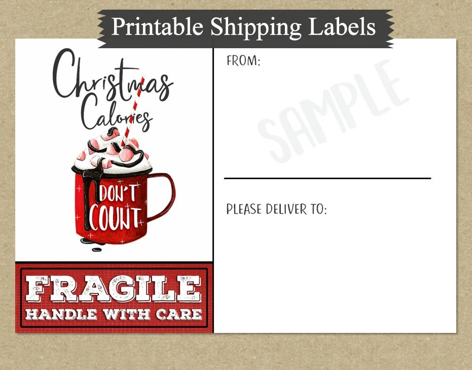 Printable 4x6 Christmas Shipping Labels Quote Word Art Etsy
