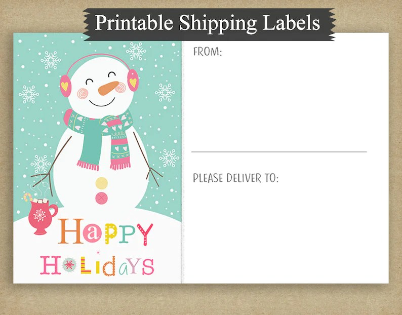 Printable 4x6 Christmas Shipping Labels Pastel Snowmen Etsy