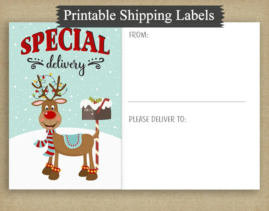 Printable Funny Reindeer 4x6 Special Delivery Shipping Labels Etsy