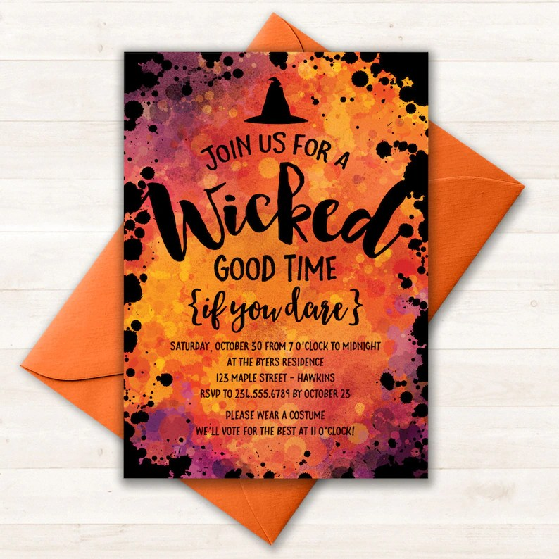 Halloween Invitation Halloween Party Invitations Halloween Etsy